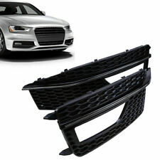 2x Black Front Bumper Fog Light Grill Cover for 2012-2015 Audi A4 B8 S-Line S4
