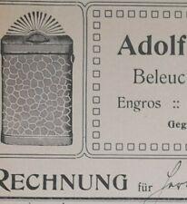 ALTE RECHNUNG MÖLLN LAUENBURG BELEUCHTUNGSARTIKEL FABRIK ADOLF KRIPNER CA 1905