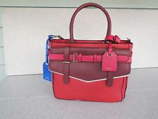 NEW REED KRAKOFF FOR KOHL'S RED CORDOVAN BOXER LARGE SATCHEL / PURSE / PROMPT