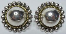 LARGE VINTAGE SIGNED TAXCO MEXICO STERLING BEADED DOME BRASS ROPE TWIST EARRINGS