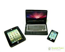 3 Dollhouse Miniature Metal Iphone Laptop I PAD Set Study Room Accessory 1:6 Toy