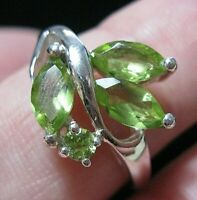 Beautiful Sterling Solid SILVER Real Peridot Gem Stone RING Jewellery Size Q 1/2