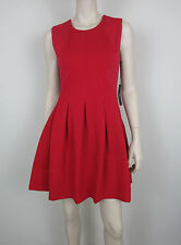 NWT$368 BCBG MAXAZRIA Tulip Dress Round Neck Sleeveless Fit'N Flare Jersey Red S