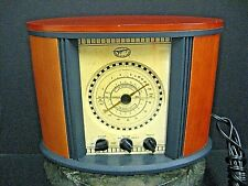 Retro Reproduction AM/FM WB-TV2 Radio Teak Wood Case Milano Spirit of St. Louis