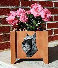 Schnauzer Planter Flower Pot Standard Silver Black