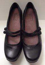 Women's CLARKS Sugar Dust Black Leather Mary Jane 2.25 inch Heel Pumps 31330 -8W