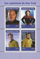 Chad - 2019 Star Trek Captains Picard & Kirk - 4 Stamp Sheet - 3B-674
