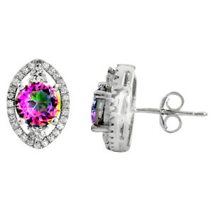 DAILY DEALS Multi Color Rainbow Topaz 925 Sterling Silver Stud Earrings C5193