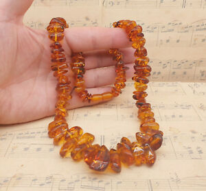 Vintage Chunky Genuine Polished Baltic Amber Beaded Necklace with Screw Clasp