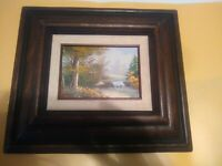 "Hecho En Mexico, Made in Mexico Wooden Frame w/ 5""x7"" Oil Landscape Art. Signed"