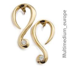 Pierre Lang Creolen Ohrringe Ohrstecker vergoldet Spiral form earrings Strass