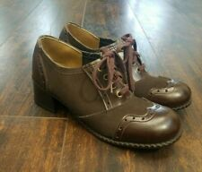 deadstock vtg wing tip oxfords cap toe chunky heel brown lace up brogue shoes 7M
