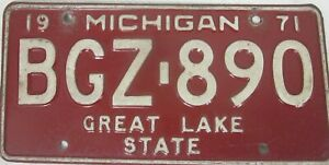 MICHIGAN 1971 licence/number plate US/United States/USA/American BGZ 890