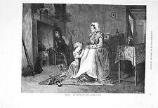 Stampa antica LA PREGHIERA della SERA religione 1869 Old print