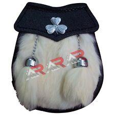 """Irish Shamrock Boys Sporran Free Leather Belt Chain 28"""" White Fur 2 Tassels AAR"""