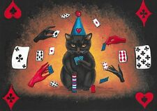 5X7 PRINT OF PAINTING BLACK CAT POKER CARDS FOLK ART WITCHCRAFT RYTA HALLOWEEN