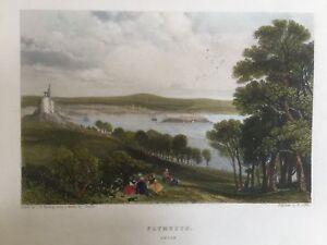 1842 Antique Print; View of Plymouth, Devon after J.D. Harding & Jendle