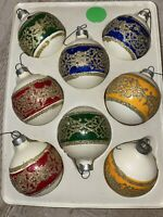 Vintage Red/Green/Blue/ Yellow With Glitter Glass Christmas Ornament Balls- 8