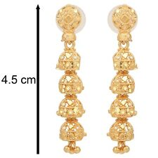 Indian Gold Plated Earrings Jewelry Bridal Traditional Wedding Jhumka Jhumki