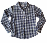 Carter's Boys Plaid Blue White Button Down Shirt Size 6 Collared EUC Ships FREE