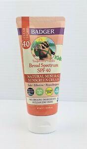 Kids Clear Zinc Mineral Sunscreen Cream SPF 40 by Badger 2.9oz Tangerine Vanilla