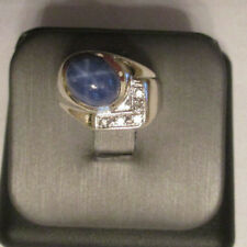 Vintage 14K Gold Diamond & Star Sapphire Ring Dia=.15 F-SI1  8.0 Grams Size 6.75