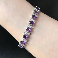 "Oval Purple Amethyst Cubic Zirconia CZ White Gold Plated Tennis Bracelet 7.25"""