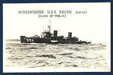 USS RAVEN AM-550 Minesweeper BW Real Photo Postcard