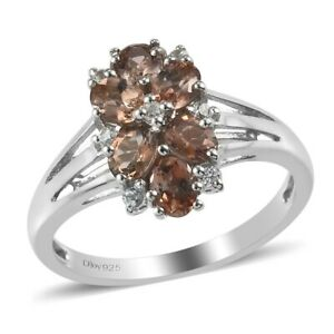 925 Silver Platinum Over Andalusite Cubic Zirconia CZ Ring Gift Size 8 Ct 1.2