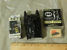'90s BATMAN [LOT of 3] Keychain + Candy Head Bust + Rubber Stamper *NEW_NOS*