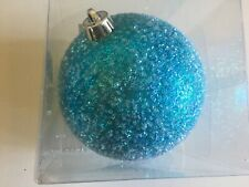 Snow Look Turquoise Christmas Shatter Resistant 6 Inch Ornament Decoration