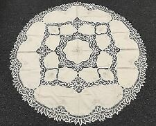 """Battenburg 100 Cotton Handmade Lace Embroidery Tablecloth 72""""RD - Beige color"""