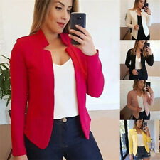 Women Casual Slim Blazer Suit Jacket Solid Coats Formal Cardigan OL Outwear Tops
