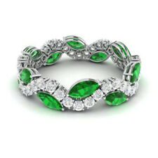 Natural Diamond Solid 14K White Gold 3.40Ct Emerald Gemstone Band Eternity Rings
