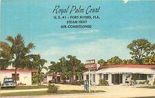 Florida, FL, Fort Myers, Royal Palm Court Linen Postcard