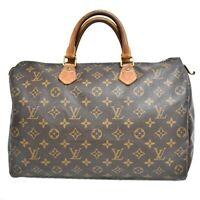 Authentic Louis Vuitton Speedy 35 Monogram Boston Satchel Hand Bag Brown Gold