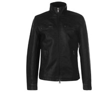 Firetrap PU Jacket Men's XL Black Zip Fastening Pckets Leather Full Zip *REF129