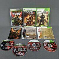 Gears of War 1 2 3 Trilogy Microsoft Xbox 360 Lot of 3 w/ Stickers & Bonus Disc