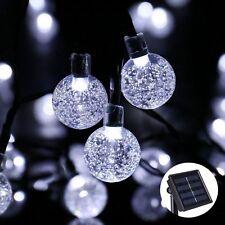 Solar Garden 30 Crystal Globe Ball Lights String Fairy White LED Weatherproof UK