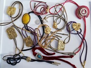 LARGE Vintage Bolo Tie LOT ROJ Royal Order of Jesters Lion Steer With Hat+
