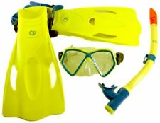 Youth Mask Fins Snorkel Set Package Snorkeling and Swimming - Ages 6-12 - Yellow