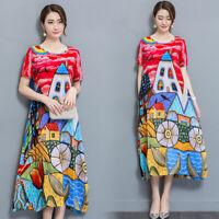 Summer Womens Retro Floral Printed Chiffon Short Sleeve Silk Beach Dress Casual