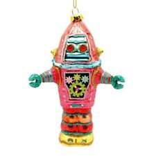 """ROBOT GLASS ORNAMENT 5"""" Pink Retro Outer Space Age NEW Sci Fi UFO Christmas Tree"""