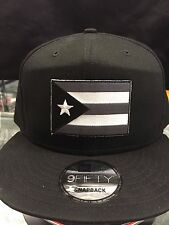 New Era NE400 Black Snapback Flat Bill Cap w/ Subdued Puerto Rico Rican Flag