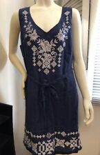 Johnny Was Plus 2X Linen Navy Embroidered Dress NWT FAB! SOLD OUT!