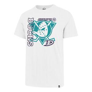 NHL T-Shirt Anaheim Mighty Ducks White Wash Levels Splitter Ice Hockey Logo