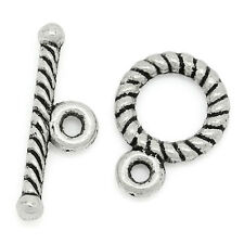 50Sets Silver Tone Toggle Clasps 9x11mm
