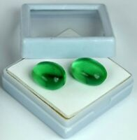 Muzo Colombian Emerald Natural Pair 20-22 Ct/16mm Oval Cabochon AGI Certified