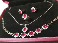 Ruby Platinum Jewellery Set w Diamonds Bracelet Earrings Ring Silver Necklace
