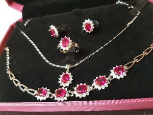 Ruby Platinum Jewellery Set w Diamonds Bracelet Earrings Ring Silver Necklace